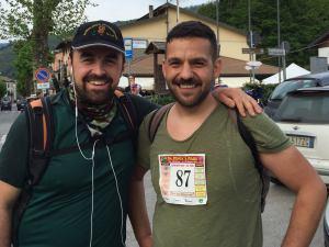 Lorenzo ed io all'Arrivo a Montepiano (primo giorno)